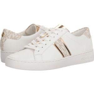 Michael Kors White x Gold Irving Stripe Sneakers